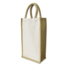 Jute Two Bottle Wine Carrier