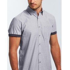 SMITH -  END ON END SHORT SLEEVE CASUAL SLIM FIT SHIRT