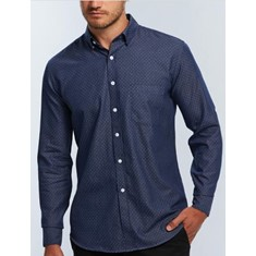 WELLINGTON - DENIM DOBBY LONG SLEEVE CASUAL SLIM FIT SHIRT