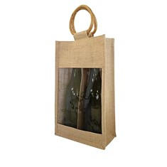 Two Bottle Jute Tote Bag