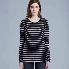WOMENS FINE LONG SLEEVE STRIPE TEE