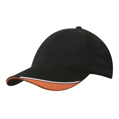 Headwear Brushed Heavy Cotton Cap with Contrast Indented Peak