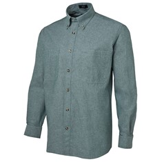 Mens Long Sleeved Cotton Chambray Shirt Green Stitch