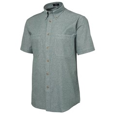 Mens Short Sleeved Cotton Chambray Shirt Green Stitch
