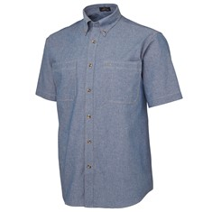 Mens Short Sleeved Cotton Chambray Shirt Tan Stitch