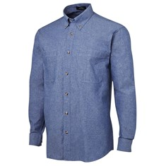 Mens Long Sleeved Cotton Chambray Shirt Blue Stitch