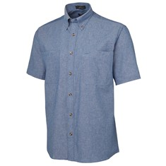 Mens Short Sleeved Cotton Chambray Shirt Blue Stitch
