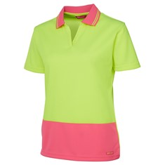 Hi Vis Ladies Short Sleeved Non Button Polo