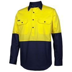 HI VIS CLOSE FRONT L/S 150G WORK SHIRT