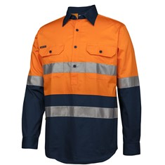 HI VIS (D+N) CLOSE FRONT L/S 150G WORK SHIRT