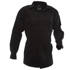 Black Drill Cotton Shirt Long Sleeved