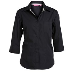 JB's Ladies Contrast Placket 3/4 Sleeve Shirt