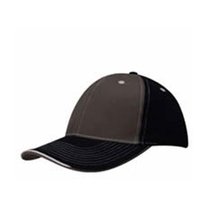 Brushed Heavy Cotton Two Tone Cap with Contrasting Stitching and Open Lip Sandwich