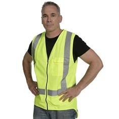 Hi Vis Zipped Day/Night Vest - Yellow