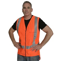 Hi Vis Zipped Day/Night Vest - Orange