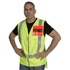 Hi Vis Zipped Day/Night Vest - Yellow STMS