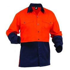 HI-VIS COTTON DRILL DAY ONLY SHIRT WITH BUTTON FRONT