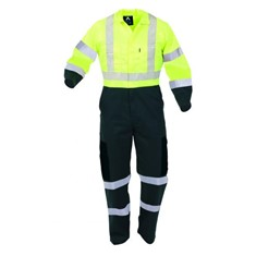 POLYCOTTON HI-VIS DAY/NIGHT OVERALL, ZIPPED FRONT