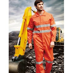 Hi-Vis Cotton Drill Overalls With X Pattern Reflective Tape