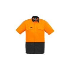 Mens Rugged Cooling Hi Vis Spliced S/S Shirt