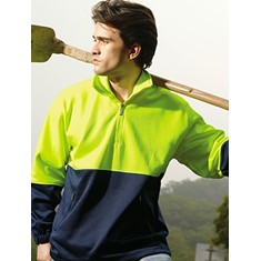 Unisex Adults Hi-Vis 1/2 Zip Safety Fleece Jumper