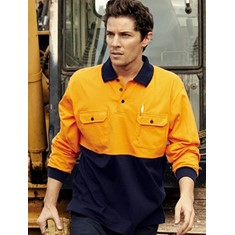 Hi-Vis Long Sleeve Cuffed Cotton Jersey Polo
