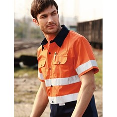 Hi-Vis Short Sleeve Cotton Drill Shirt With 3M Reflective Tape
