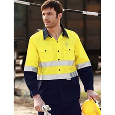 Hi-Vis Long Sleeve Cotton Drill Shirt With 3M Reflective Tape