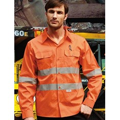 "Hi-Vis Cotton Drill Shirt With 3M Reflective Tape ""X"" Pattern"