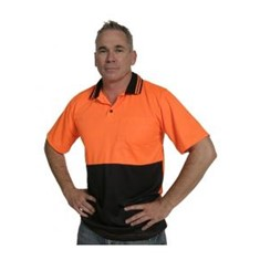 Polo Shirt Short Sleeved Orange/Navy